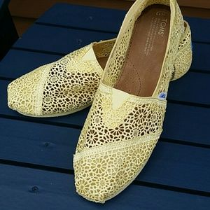 TOMS Yellow Lace Flats